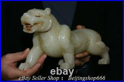 10.8 Old Chinese White Jade Carving Fengshui 12 Zodiac Year Tiger Statue