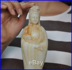 10 Old Chinese White jade carving lotus Kwan-yin guanyin Quanyin goddess statue
