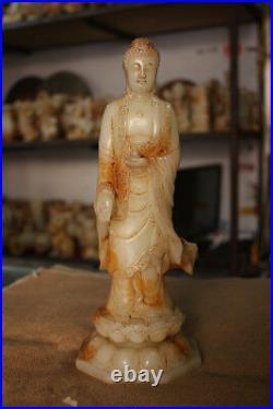 11.5 China Natural Old White Jade Master Carved Shakya Mani Buddha Statue