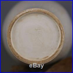 11 China antique Porcelain Song Ding Kiln White Glaze Hand Carved Plum Vase