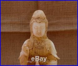12 China antique carved old white jade Buddhist vase guanyin statue
