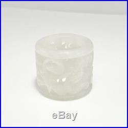 17th C JADE ARCHERS RING Nephrite Carved Antique Ming Qing WHITE Chinese Thumb