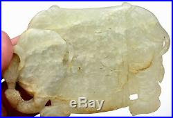 18C Chinese Celadon White Jade Carved Carving Thick Plaque Pendant Elephant