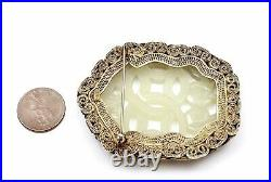 1900's Chinese White Jade Carved Carving Plaque Gilt Silver Enamel Pin Brooch Mk