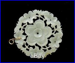 1900's Chinese White Jade Carved Carving Plaque Pendant Necklace Flower
