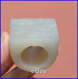 1900's Chinese White Jade Nehrite Carved Carving Archer Saddle Ring Lotus Flower