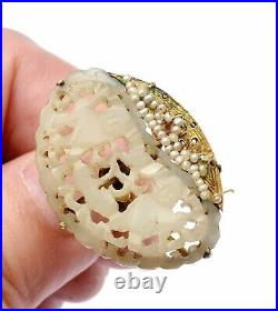 1930's Chinese White Jade Carved Carving Plaque Seed Pearl 14K Gold Earrings