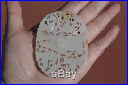 19C Chinese Russet White Jade Nephrite Carved Carving Belt Buckle Plaque Figure