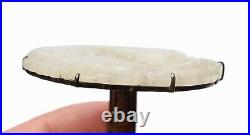 19C Chinese White Jade Carved Dragon Plaque Hat Button Silver Clip Pin Brooch