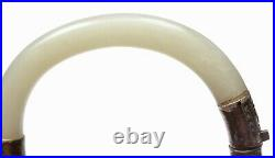 19C Chinese White Jade Nephrite Carved Carving Sold Silver Bracelet Bangle Mk