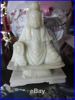 19C Chinese White Soapstone Carving Quan Kwan Yin Buddha