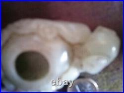 19C Qing White Nephrite Jade Boy & Flowers Brush Washer / Scholar's Item