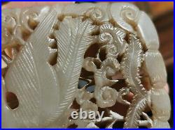 19/20th century antique Chinese white jade carved pendant for inlay furniture