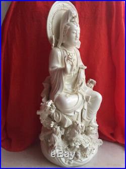19'' Dehua white porcelain carved Five dragon Avalokitesvara Guanyin kwan-yin