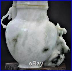 19th Century Antique Chinese Black White Jade Carved Tree Bird Bottle Base