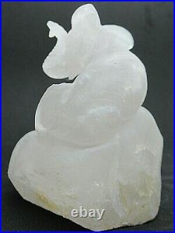 1lb 4oz RARE Burmese Mist Chalcedony Elephant Carving