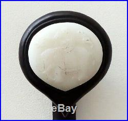 20C Chinese Hardwood Scepter w. Nephrite Jade Elephant Motif Carved Head