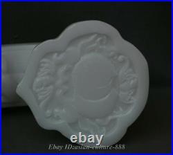 20 China White Jade Hand-carved Beast Pixiu Peach Bixie Auspicious Ruyi Statue