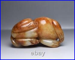 268 g Chinese Antique Qing Dynasty Hand Carved Hetian Jade Lion Beast Statues