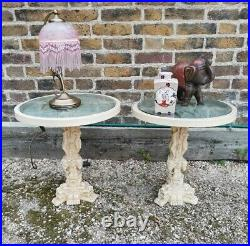 2 x Antique 1960s Oriental Japanese Chinese Occasional Side Tables Stone