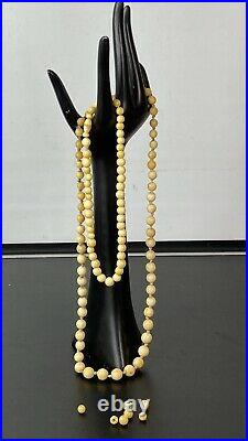 2 x Antique Victorian Chinese Carved Bovine Bone Bead Necklace Graduated