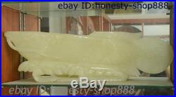 31 Chinese White Jade Carved Fengshui Wealth Golden Dragon Fish Ornament Statue