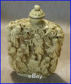 3' Antique Chinese Cinnabar Snuff Bottle Carved
