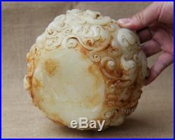 4 Old White Jade Hand carved dragon Leopard pixiu wash brush pot jar
