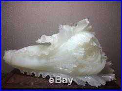 5.4lb Vintage white quartz stone carving superb detail cabbage 20 yrs collection