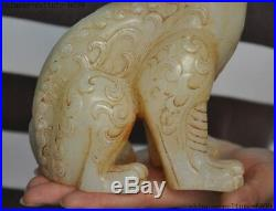 6 Old China White jade carving Feng Shui Pixiu Brave Troops Beast Animal Statue