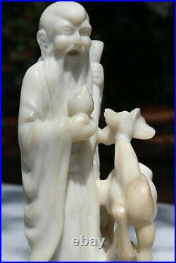7 Antique Intricately Carved Mutton Fat Jade Sau God Longevity Deer Peach Staff