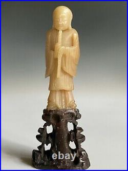 7 Antique Jade Statute Figurines White & Yellow Beautifully Hand Carved Quality