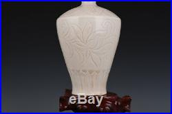 7 China antique Porcelain Song ding kiln white glaze carving flower plum vase