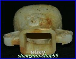 7 Old China White Jade Gilt Carving Dynasty Palace Dragon Beast Tank Jug Jar