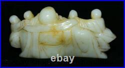 8.2 Old Chinese White Jade Carving Happy Laugh Maitreya Buddha Tongzi Statue
