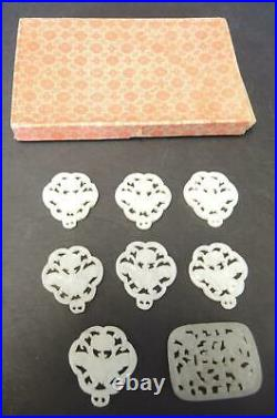 8 Vintage Hand Carved Chinese White Jade Lamp Finials or Pulls With Original Box