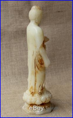 9 China Collect Old White Jade hand Carved lotus Sakyamuni Buddha statue