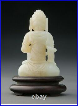 A123 A Chinese White Jade Carved Buddha, 19th/20th century