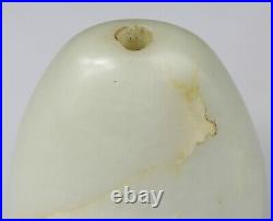 ANTIQUE CHINESE SNUFF BOTTLE JADE NEPHRITE WHITE CELADON CARVED Republic 20TH