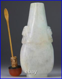 ANTIQUE RARE CHINESE WHITE LAVENDER JADEITE CARVED SNUFF BOTTLE AGATE Qing 19TH