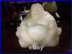 A Large Fine Carved Chinese White Nephrite Jade Buddhism Buddha Hotai Statue