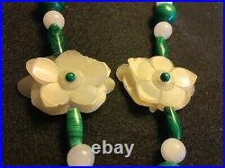 A Necklace with pair of Chinese Carved White Jade Flowers