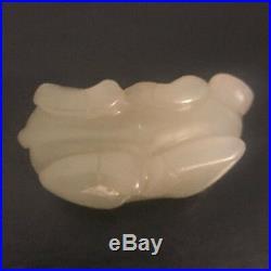 Ancient Chinese Hand Carved HETIAN White Jade Pendant Bull Zodiac Taurus Pendant