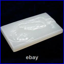 Ancient Chinese Mythical Kwan Yin Hand-Carved Hetian White Jade Amulets Pendant