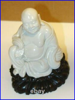 Antique19th c. White Porcelain Buddha-4 high on hand carved hardwood stand
