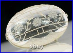 Antique 18k White Gold Chinese Carved Rock Crystal Floral Detail Art Deco Brooch