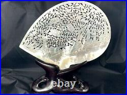 Antique 19thC Chinese Plaque 9 MOP Mother Pearl Shell Carving on Rosewood Stand