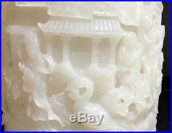 Antique 19th C Chinese Fine Carved White Jade Brush Pot