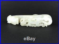 Antique 19th Chinese Carved White Jade Qilong Buckle