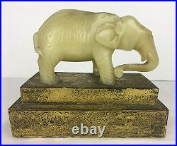Antique 6 long 3 tall White Jade Elephant Hand Carved w Brass Base w Scrolls